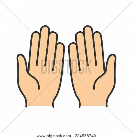 Muslim praying hands color icon. Palms. Asking to Allah. Isolated vector illustration