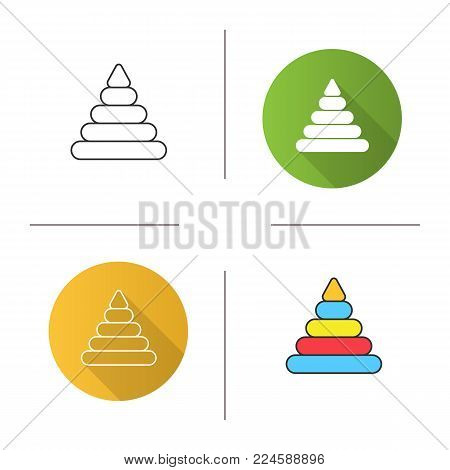 Pyramid toy icon. Flat design, linear and color styles. Isolated vector illustrations