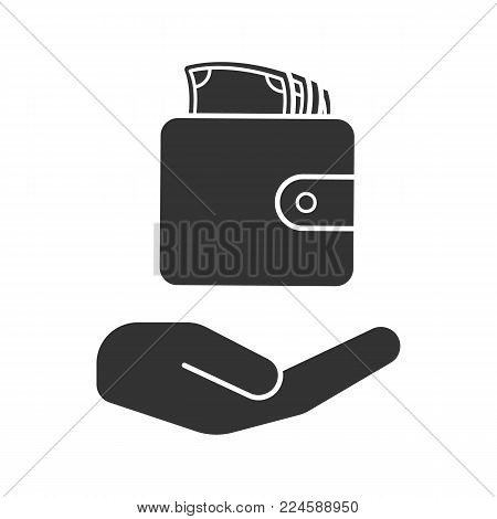 Open hand with wallet and money glyph icon. Silhouette symbol. Money saving. Negative space. Vector isolated illustration