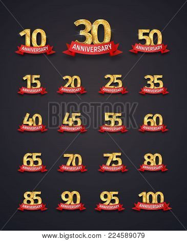 Set of Isolated event numbers with red ribbons on dark background vector illustration. Collection of logos for any anniversary