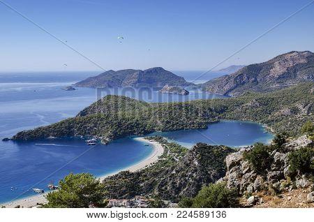 Turkey, coast, Oludeniz beach, view to the top of the beach and the blue lagoon