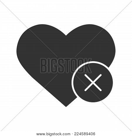 Heart with cross glyph icon. Health care. Silhouette symbol. Delete bookmark. Negative space. Vector isolated illustration