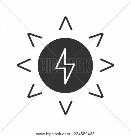 Solar energy glyph icon. Sun with lightning inside. Silhouette symbol. Eco energy. Negative space. Vector isolated illustration