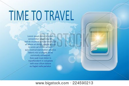 World travel and tourism concept. Banner of a plane portholes in tourism theme. Travel agency advertisement airplane poster design. Vector Illustration EPS 10