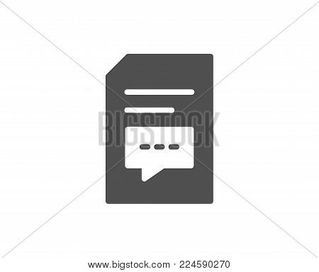 Document with Comments simple icon. Information File with Speech bubble sign. Paper page concept symbol. Quality design elements. Classic style. Vector