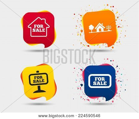 For sale icons. Real estate selling signs. Home house symbol. Speech bubbles or chat symbols. Colored elements. Vector