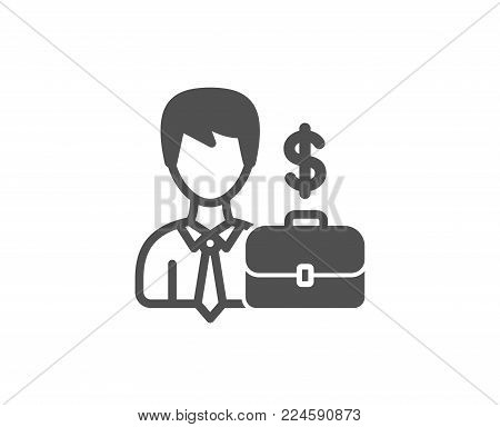 Businessman with Case simple icon. Diplomat with Dollar sign. Quality design elements. Classic style. Vector