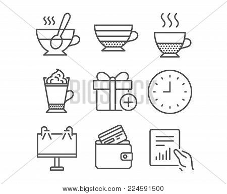 Set of Doppio, Latte coffee and Debit card icons. Road banner, Clock and Add gift signs. Tea cup, Cappuccino and Document symbols. Coffee drink, Hot drink with whipped cream, Wallet with credit card