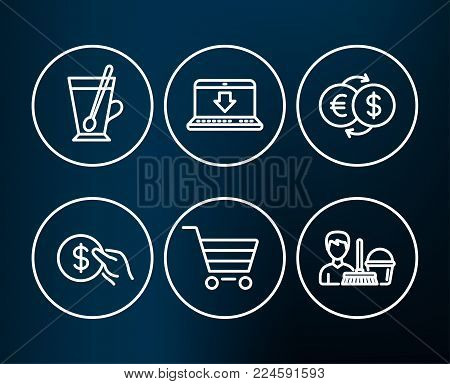 Set of Tea mug, Payment and Money exchange icons. Internet downloading, Market sale and Cleaning service signs. Cup with teaspoon, Usd coin, Eur to usd. Load data, Customer buying, Bucket with mop