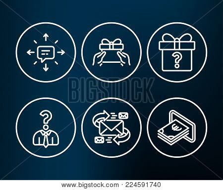 Set of Sms, Give present and Hiring employees icons. E-mail, Secret gift and Cash signs. Conversation, Receive a gift, Human resources. Communication by letters, Unknown package, Atm payment. Vector