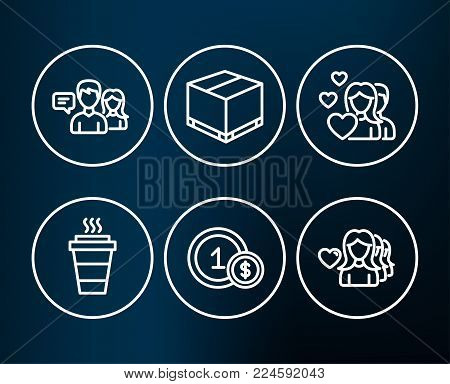 Set of Takeaway, Usd coins and Couple icons. People talking, Delivery box and Woman love signs. Takeout coffee, Cash payment, Valentines day. Contact service, Cargo package, Romantic people. Vector