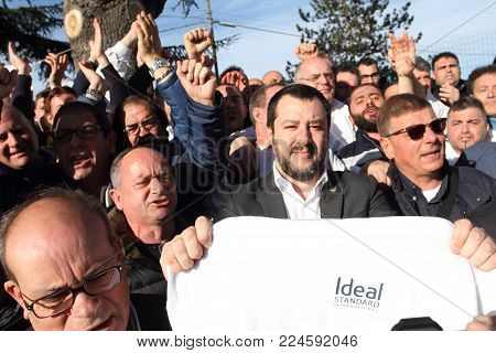 Roccasecca, Italy - January 18, 2018 - Matteo Salvini meets the workers of the Ideal Standard factory
