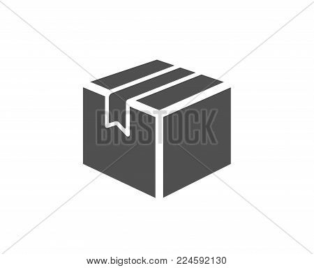 Shipping box simple icon. Logistics delivery sign. Parcels tracking symbol. Quality design elements. Classic style. Vector