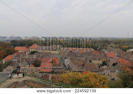 Old hystorical city center panoramic view on cloudy day
