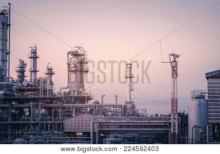 Oil and gas refinery industrial plants with distillation tower