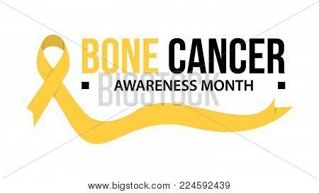 Awareness month ribbon cancer. Bone cancer awareness vector illustration