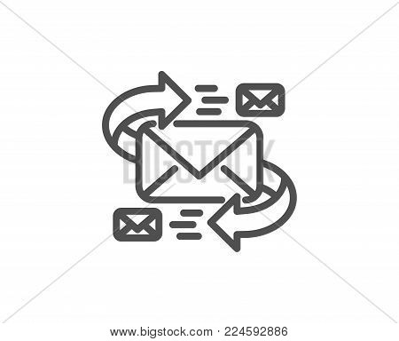 Mail line icon. Communication by letters symbol. E-mail chat sign. Quality design element. Editable stroke. Vector