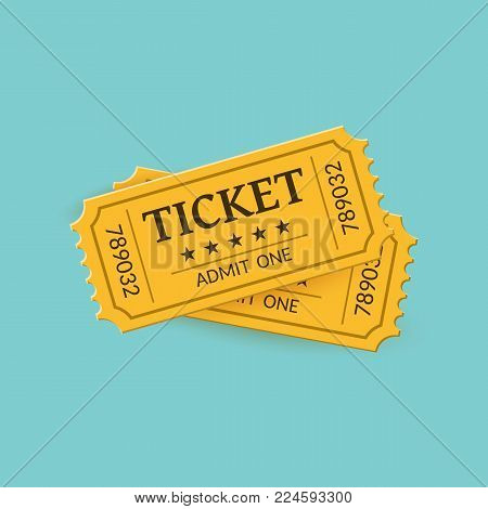 Cinema tickets on background. Retro style. Vector illustration