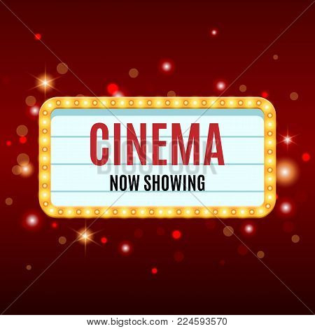 Cinema Banner. Movie watching retro background. Film industry. Cinematography concept. Vector illustration