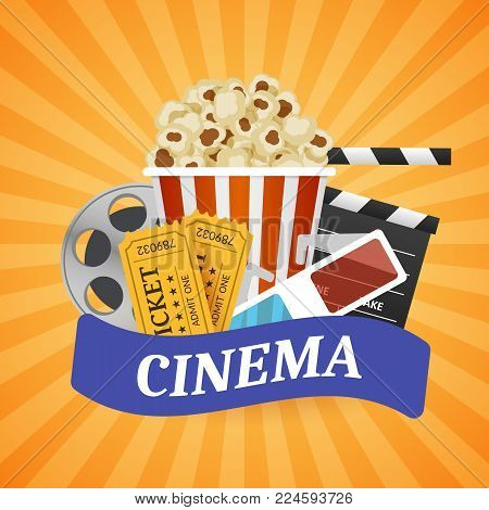 Cinema Banner. Movie watching with popcorn and 3D glasses. Film industry. Cinematography concept. Vector illustration.