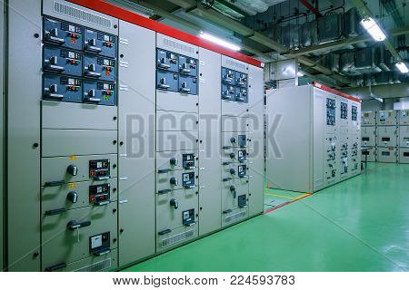 Electrical substation room in petrochemical industry or Oil and gas refinery and power plants