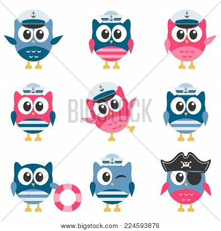 Set of funny Owls sailors isolated on white background