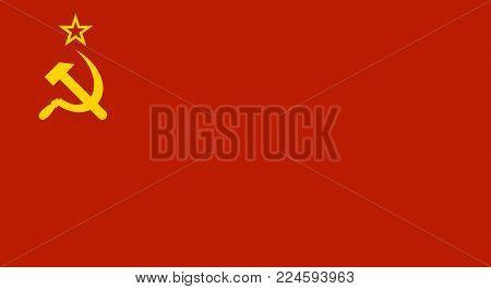 Ussr Red Soviet Union Flag. Vector illustration