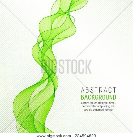 Business Background with Green Wave Line for your Text, Information, Publishing. Abstract Transparent Smooth Wavy Horizontal Curved Line on Light Striped Backdrop.