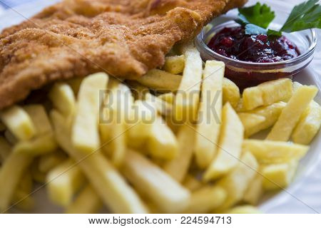 photo of a typical Austrian dish of a wiener schnitzel with fried potatoes accompanied by a blueberry sauce.