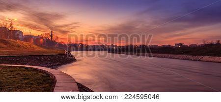 Picturesque sunset landscape at Nisava river, Serbia