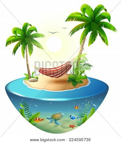 Striped hammock between palm trees on tropical island. Paradise beach vacation in Hawaii. Isolated on white 3d vector cartoon illustration