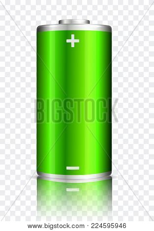 Vector full charge abstract green power battery. Realistic illustration on transparent background.