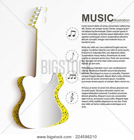 Musical instrument concept with text white cut out paper electric guitar silhouette and notes icons vector illustration