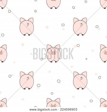 Seamless Pattern With Cute Little Pigs. Vector Illustration For Kids Design.