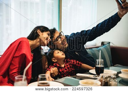 Indian family out in restaurant