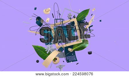 trendy design abstract composition with lettering and strange objects and shapes, high resolution