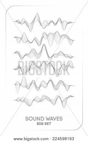 Sound wave vector . Vector music voice vibration, song waveform digital spectrum, audio pulse and waveform equalizer.
