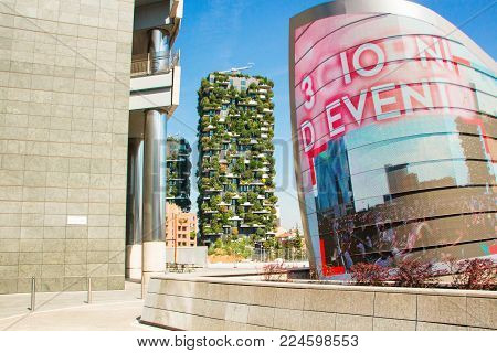 MILAN, ITALY - SEPTEMBER 5, 2017:  Bosco Verticale, vertical forest apartment buildings in the Porta Nuova area of the city. Bosco Verticale skyscrapers in Porta Nuova, the business district of Milan, Italy.