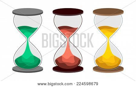 Hourglass flat vector illustration.  Set of sand-clock with colored sand. The concept of time for printing or banner. An interesting embodiment for the design