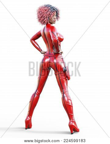 3D beautiful tall woman in leather red bodysuit. Latex tight fitting suit. Gun in holster. Girl studio photography. High heel. Conceptual fashion art. Seductive candid pose. Realistic illustration.