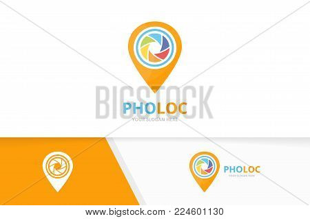 Vector camera shutter and map pointer logo combination. Lens and gps locator symbol or icon. Unique photo and pin logotype design template.