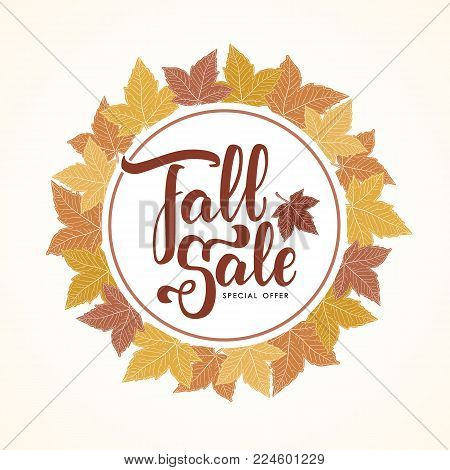 Vector illustration: Handwritten lettering of Fall Sale on hand drawn autumn leaves background