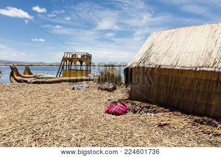 Traditional reed boat (totora) in the Uros Islands, Titicaca Lake or Titikaka Lake, Peru, South America