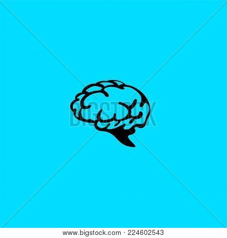 minimal logo of black human brain on blue background vector illustration.