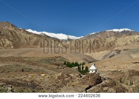 Old stupa in the Indusu valley in the Ladakh is admiring the beautiful Karakorum mountains. This region is a purpose of motorcycle expeditions organised by Indians