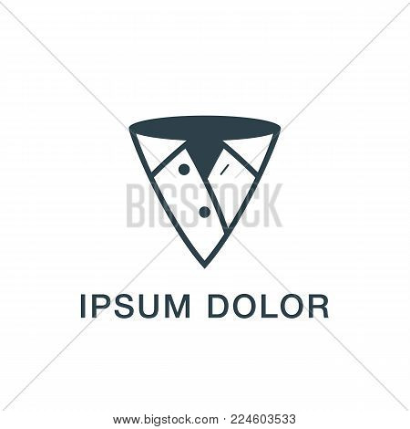 Pointer and clothing abstract icon. Men's shirt as a pointer on the map logo template for the business card, branding and corporate identity.