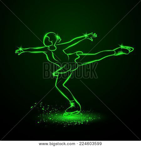 Figure skating neon illustration. A girl dances on ice in a position with an elongated leg.