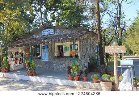 Pokhara Nepal - November 8, 2017: International Mountain Museum Ticket Office In Pokhara Nepal.
