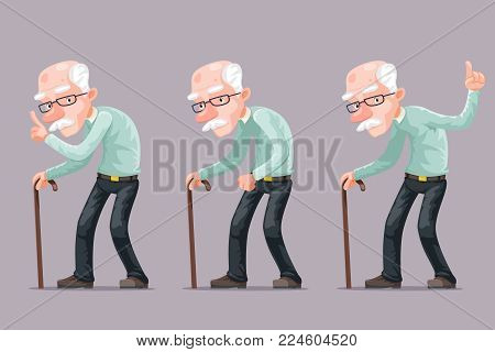 Bent Old Man Cane Wise Moral Preaching Instruction Cartoon Old Character Design Vector Illustration