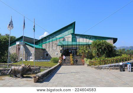 Pokhara Nepal - November 8, 2017: Unidentified People Visit International Mountain Museum In Pokhara